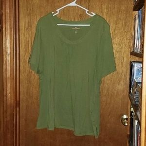 Woman Within Olive Green Round Neck Shirt Top